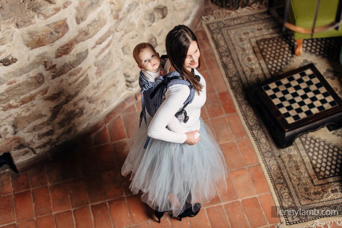 Lenny Buckle Onbuhimo baby carrier, standard size, jacquard weave (60% cotton, 40% bamboo) - LITTLE LOVE - AQUA #babywearing