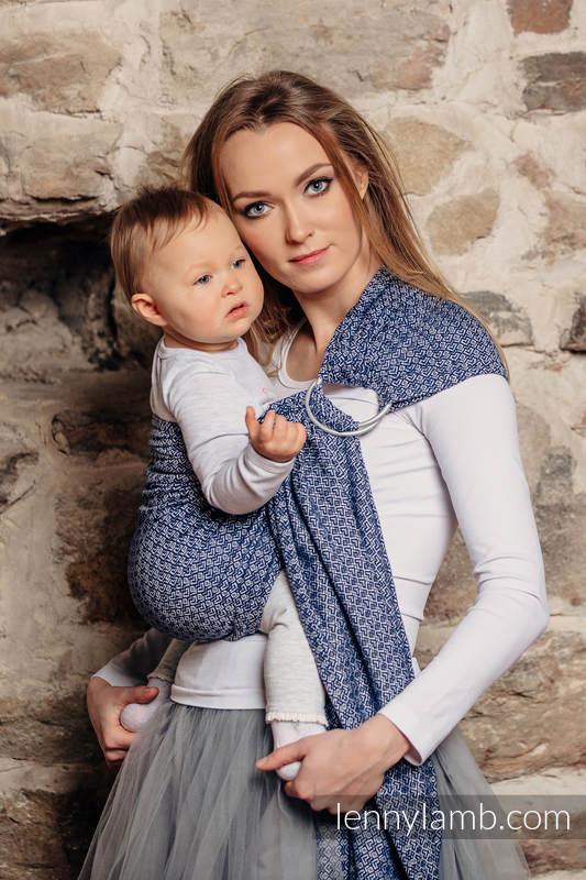 RingSling, Jacquardwebung (40% Bambus, 60% Baumwolle), Raffung an den Ringen - LITTLE LOVE AQUA  - long 2.1m #babywearing