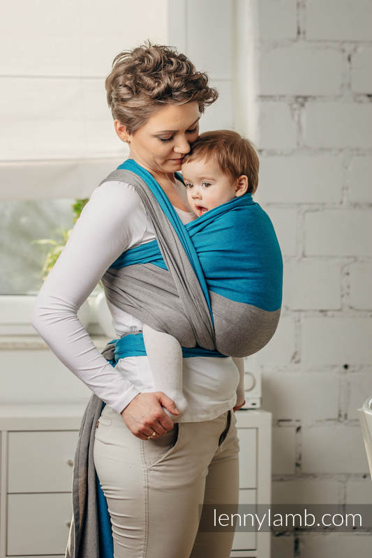 Basic Line Baby Sling - SODALITE, Broken Twill Weave, 100% cotton, size S #babywearing