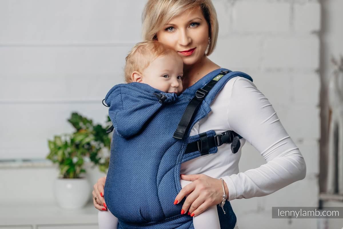 Moje Pierwsze Nosidełko Ergonomiczne - KOBALT, splot jodełkowy, 100% bawełna , Baby Size,  Druga Generacja #babywearing
