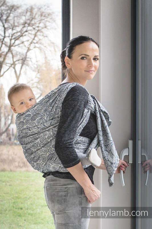Baby Wrap, Jacquard Weave (100% cotton) - PAISLEY NAVY BLUE & CREAM - size M (grade B) #babywearing