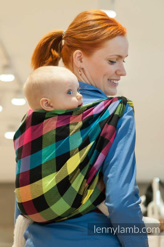 Chusta do noszenia dzieci, tkana splotem diamentowym, bawełna - DIAMENTOWA KRATA -  rozmiar L #babywearing