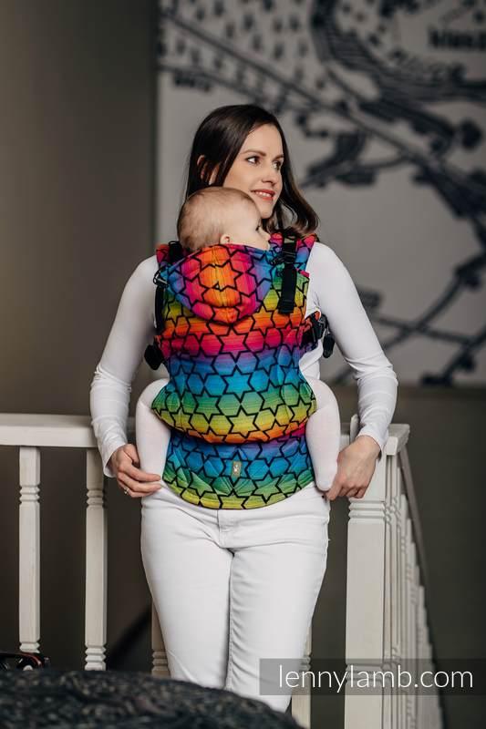 Nosidełko Ergonomiczne z tkaniny żakardowej 100% bawełna , Toddler Size, TĘCZOWE GWIAZDKI DARK - Druga Generacja #babywearing