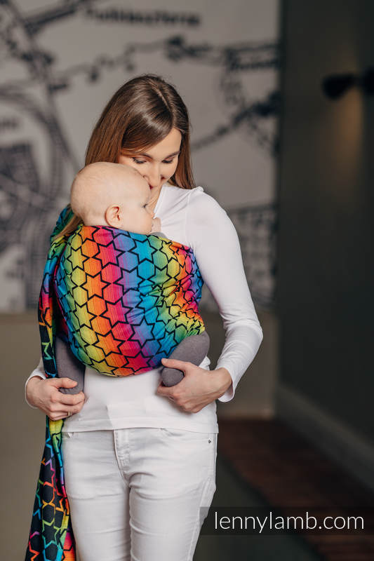 Ringsling, Jacquard Weave (100% cotton) - with gathered shoulder - RAINBOW STARS DARK #babywearing