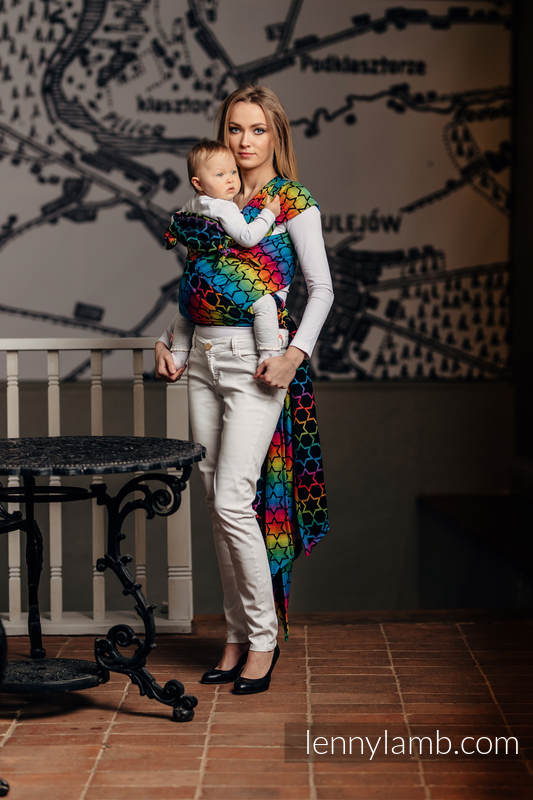 WRAP-TAI carrier Toddler with hood/ jacquard twill / 100% cotton / RAINBOW STARS DARK #babywearing