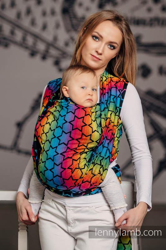 Baby Wrap, Jacquard Weave (100% cotton) - RAINBOW STARS DARK - size L #babywearing