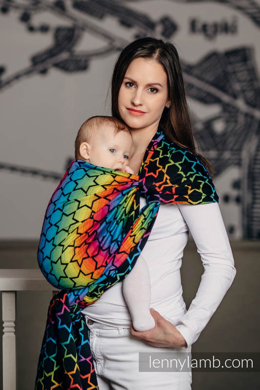 Baby Wrap, Jacquard Weave (100% cotton) - RAINBOW STARS DARK - size XS #babywearing