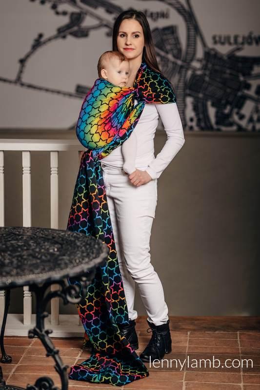Baby Wrap, Jacquard Weave (100% cotton) - RAINBOW STARS DARK - size XL #babywearing