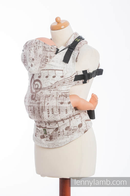 Ergonomic Carrier, Toddler Size, jacquard weave 100% cotton - SYMPHONY CREME & BROWN - Second Generation #babywearing