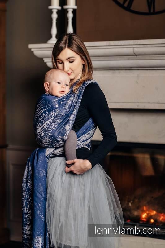 Baby Wrap, Jacquard Weave (100% cotton) - SYMPHONY NAVY BLUE & GREY - size XS #babywearing