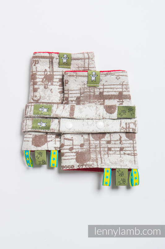 Drool Pads & Reach Straps Set, (60% cotton, 40% polyester) - SYMPHONY CREME & BROWN (grade B) #babywearing