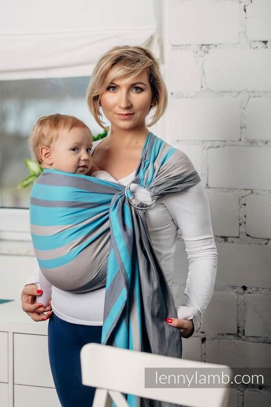 Chusta kółkowa, splot skośno-krzyżowy, (100% bawełna) - MGLISTY PORANEK - standard 1.8m (drugi gatunek) #babywearing