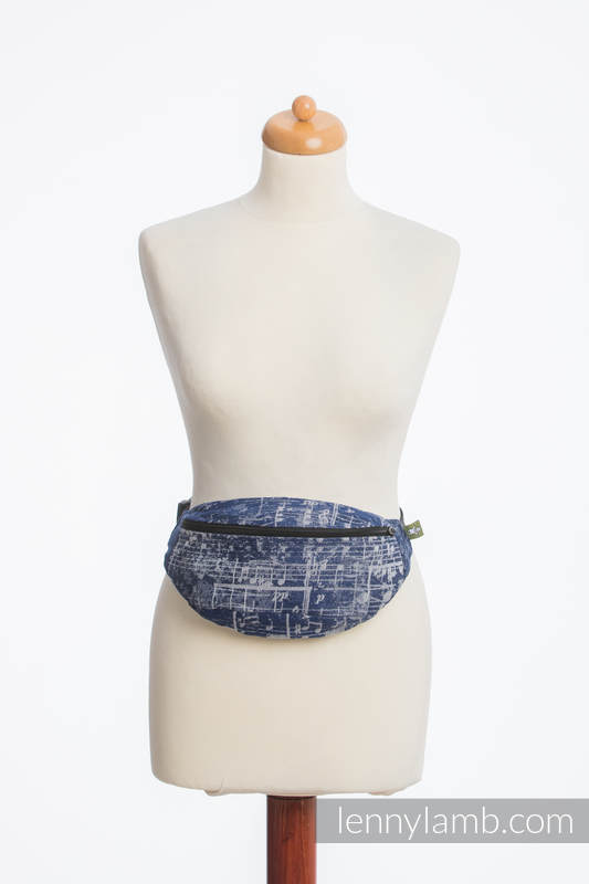 Waist Bag made of woven fabric, (100% cotton) - SYMPHONY NAVY BLUE & GREY #babywearing