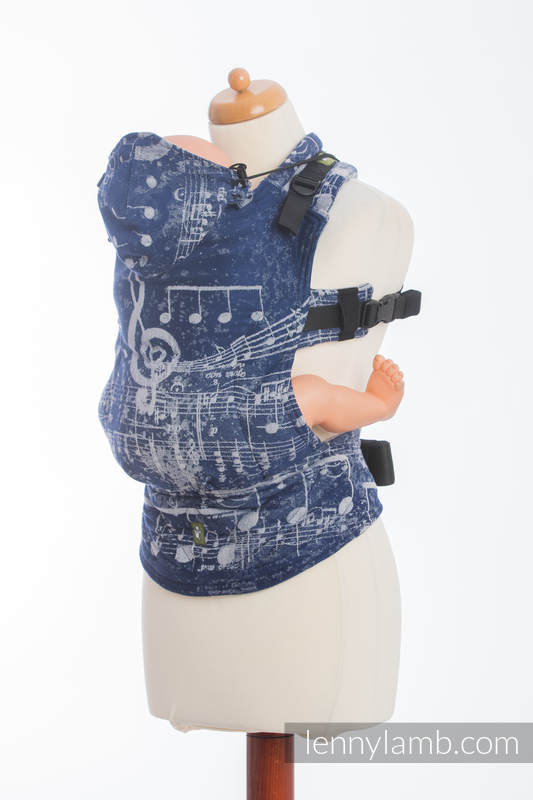 Ergonomic Carrier, Baby Size, jacquard weave 100% cotton - SYMPHONY NAVY BLUE & GREY - Second Generation #babywearing