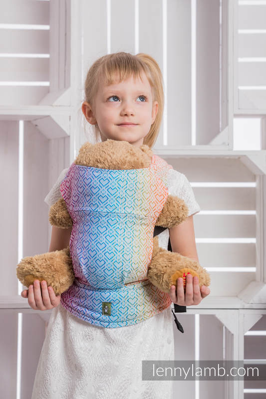 Doll Carrier made of woven fabric, 100% cotton - BIG LOVE - RAINBOW #babywearing