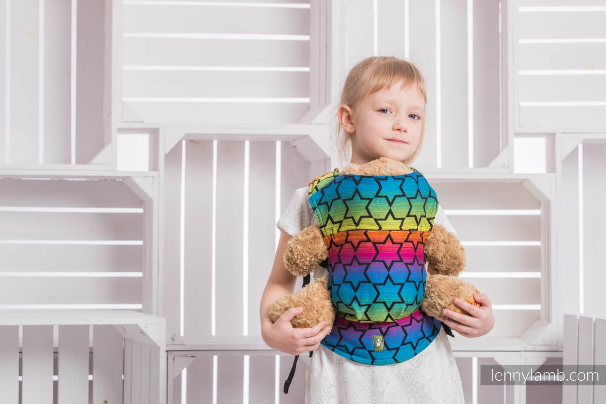Doll Carrier made of woven fabric, 100% cotton - RAINBOW STARS DARK #babywearing