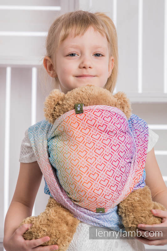 Doll Sling, Jacquard Weave, 100% cotton - BIG LOVE - RAINBOW #babywearing