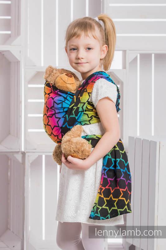 Doll Sling, Jacquard Weave, 100% cotton - RAINBOW STARS DARK #babywearing