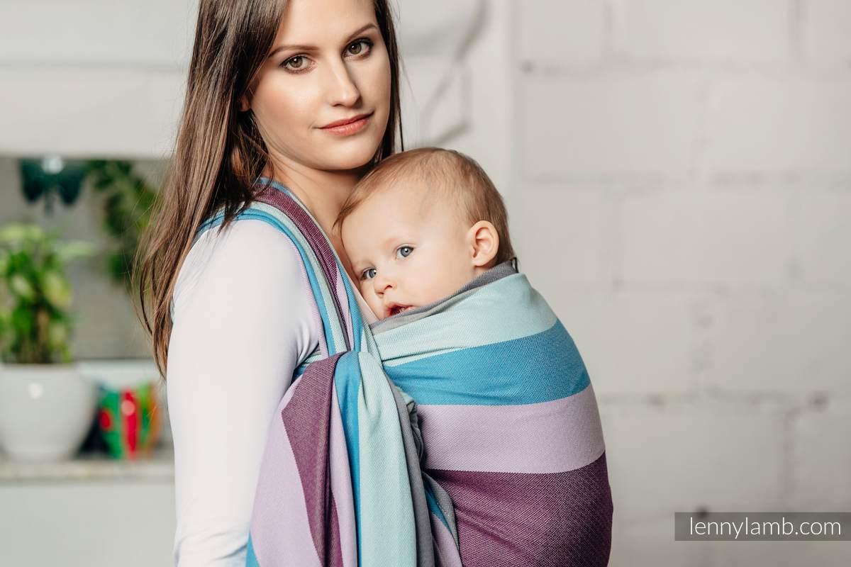 Chusta do noszenia dzieci, tkana splotem diamentowym, bawełna - Islandzki Diament -  rozmiar XS #babywearing