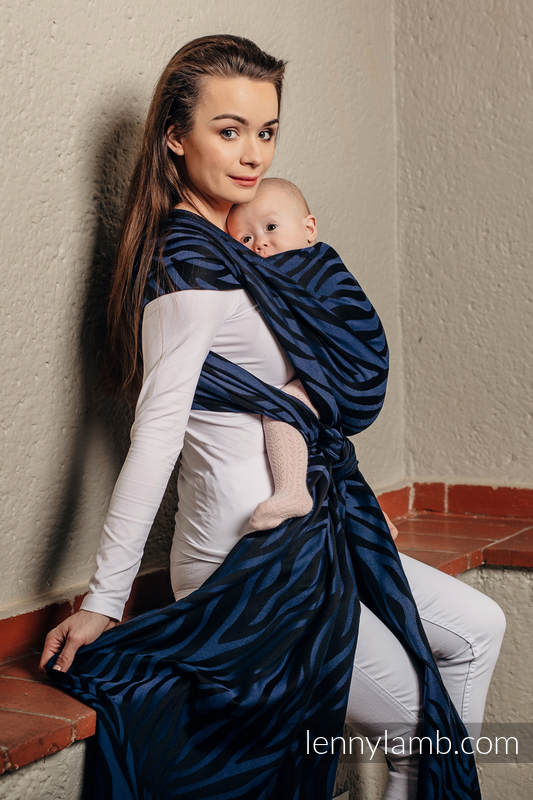Żakardowa chusta do noszenia dzieci, bawełna - ZEBRA CZARNY Z GRANATEM  - rozmiar L (drugi gatunek) #babywearing