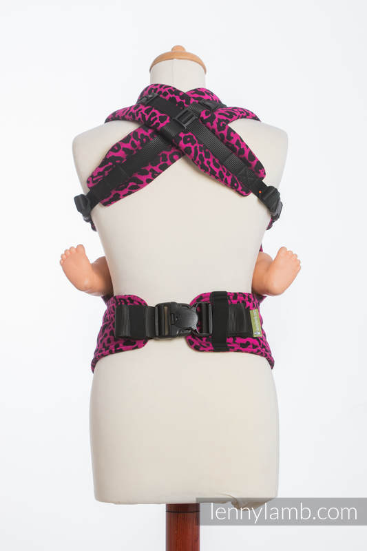 Nosidełko Ergonomiczne z tkaniny żakardowej 100% bawełna , Baby Size, GEPARD CZARNY Z RÓŻOWYM #babywearing
