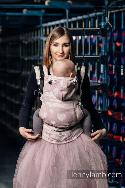 Nosidełko Ergonomiczne z tkaniny żakardowej 60% Bawełna 28% Len 12% Jedwab Tussah, Baby Size, PUDROWA KORONKA, Druga Generacja #babywearing