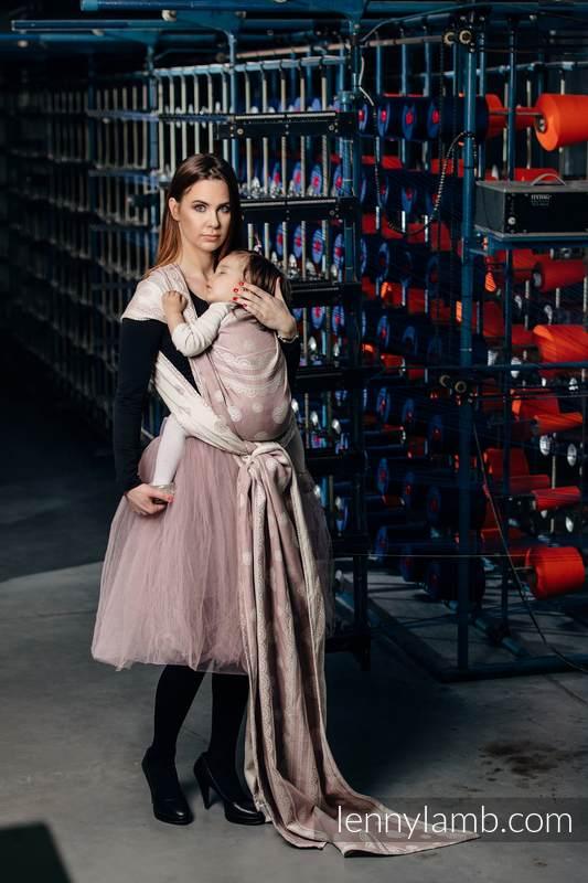 Baby Wrap, Jacquard Weave (60% cotton 28% linen 12% tussah silk) - POWDER PINK LACE - size XL #babywearing