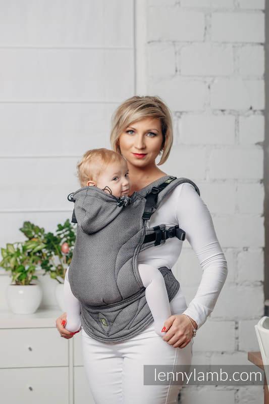Moje Pierwsze Nosidełko Ergonomiczne - GRAFIT, splot jodełkowy, 100% bawełna , Baby Size,  Druga Generacja #babywearing