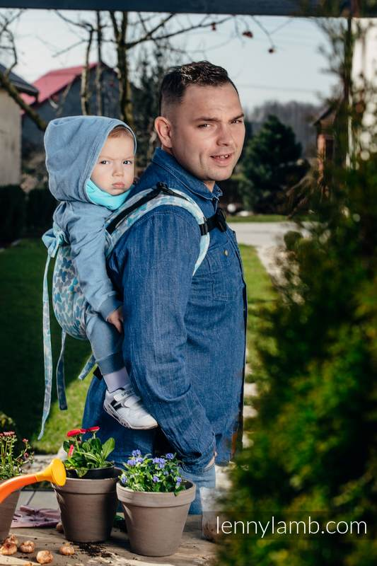 Lenny Buckle Onbuhimo baby carrier, standard size, jacquard weave (100% cotton) - BUTTERFLY WINGS BLUE  #babywearing