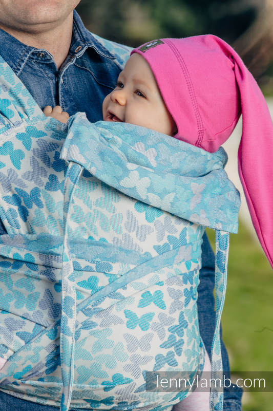 WRAP-TAI carrier Toddler with hood/ jacquard twill / 100% cotton / BUTTERFLY WINGS BLUE  #babywearing