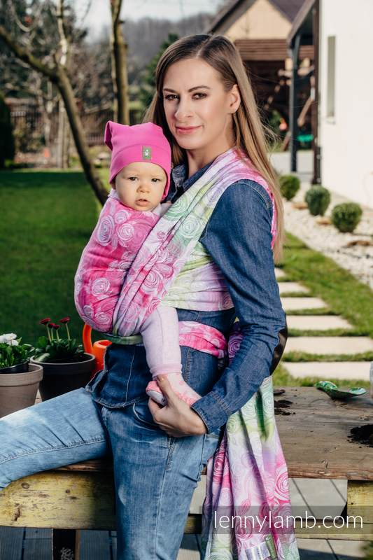 Baby Wrap, Jacquard Weave (100% cotton) - ROSE BLOSSOM - size M #babywearing