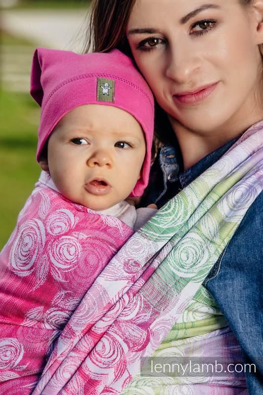 Baby Wrap, Jacquard Weave (100% cotton) - ROSE BLOSSOM - size XS #babywearing