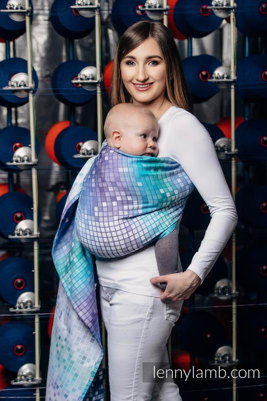 Żakardowa chusta kółkowa do noszenia dzieci, bawełna - MOZAIKA - AURORA  - long 2.1m #babywearing