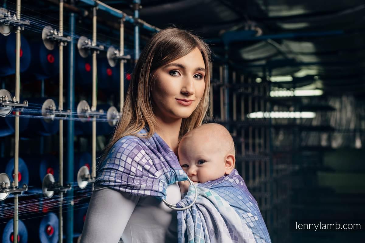 Żakardowa chusta kółkowa do noszenia dzieci, bawełna, ramię bez zakładek - MOZAIKA - AURORA  - long 2.1m #babywearing