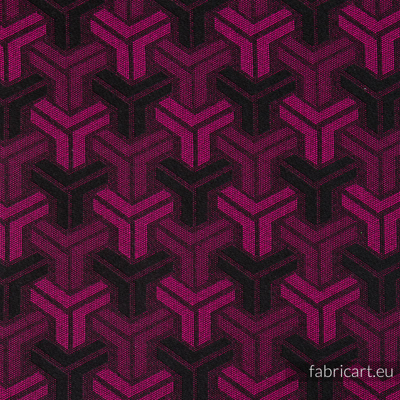 TRINITY MAGENTA & BLACK, fabric quarters, jacquard, size 50cm x 70cm #babywearing