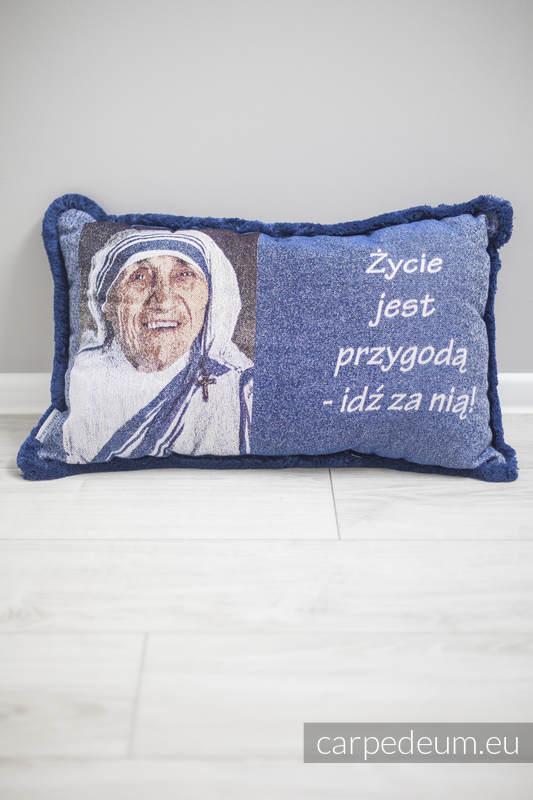 Poduszka żakardowa, (100% bawełna) - MATKA TERESA - GRANATOWE WYKOŃCZENIE - uniwersalny rozmiar 62cmx43cm #babywearing