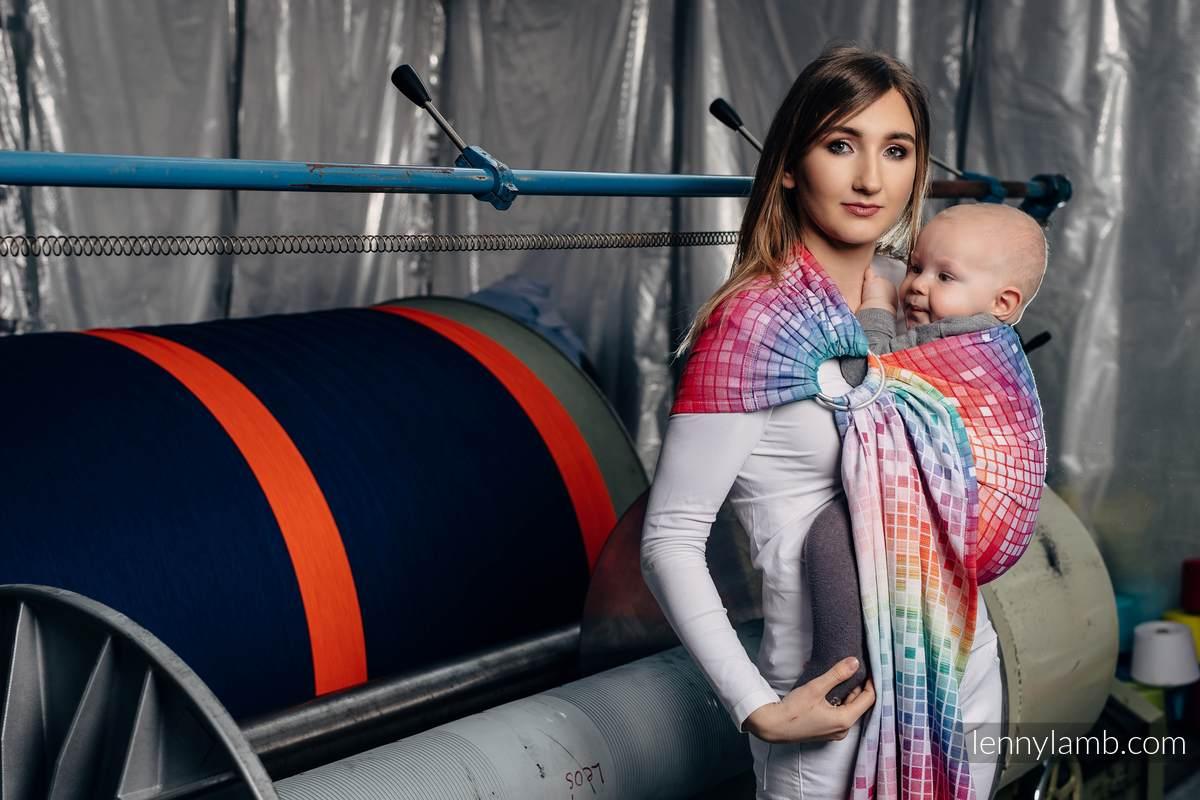 Żakardowa chusta kółkowa do noszenia dzieci, bawełna, ramię bez zakładek - MOZAIKA - TĘCZA  - long 2.1m #babywearing