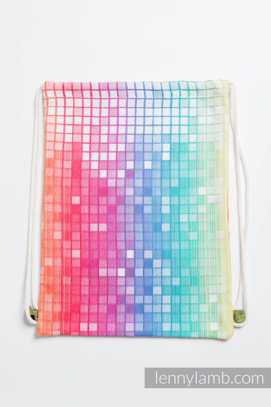 Mochila portaobjetos hecha de tejido de fular (100% algodón) - MOSAIC - RAINBOW - talla estándar 32cmx43cm #babywearing