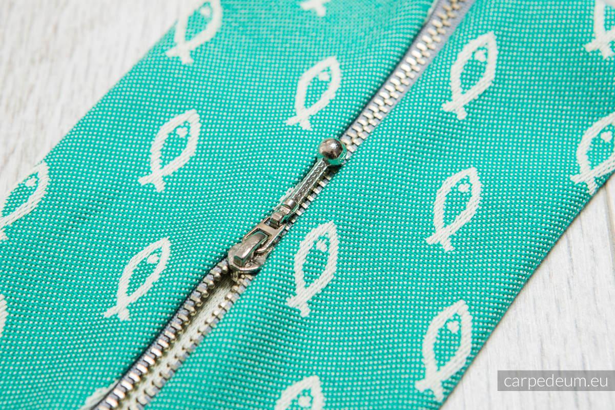 Piórnik z materiału żakardowego, (100% bawełna) - ICHTYS - KREMOWY Z ZIELENIĄ #babywearing