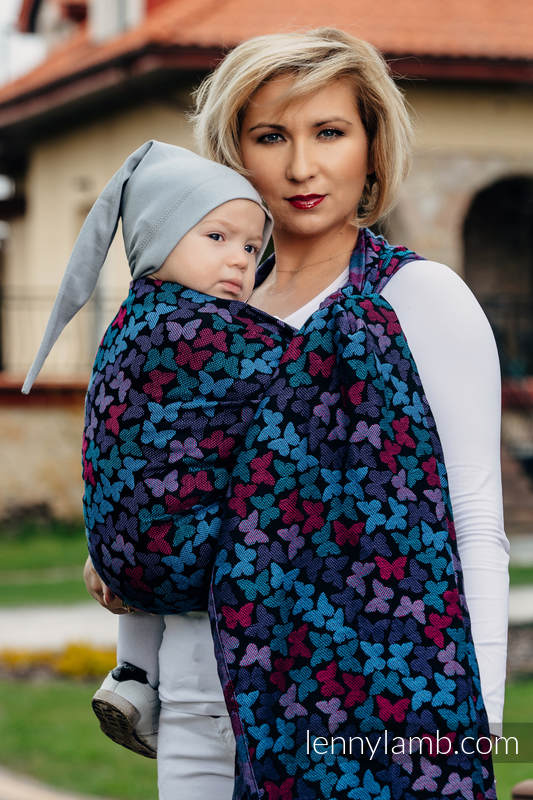 Baby Wrap, Jacquard Weave (100% cotton) - BUTTERFLY WINGS at NIGHT - size M (grade B) #babywearing