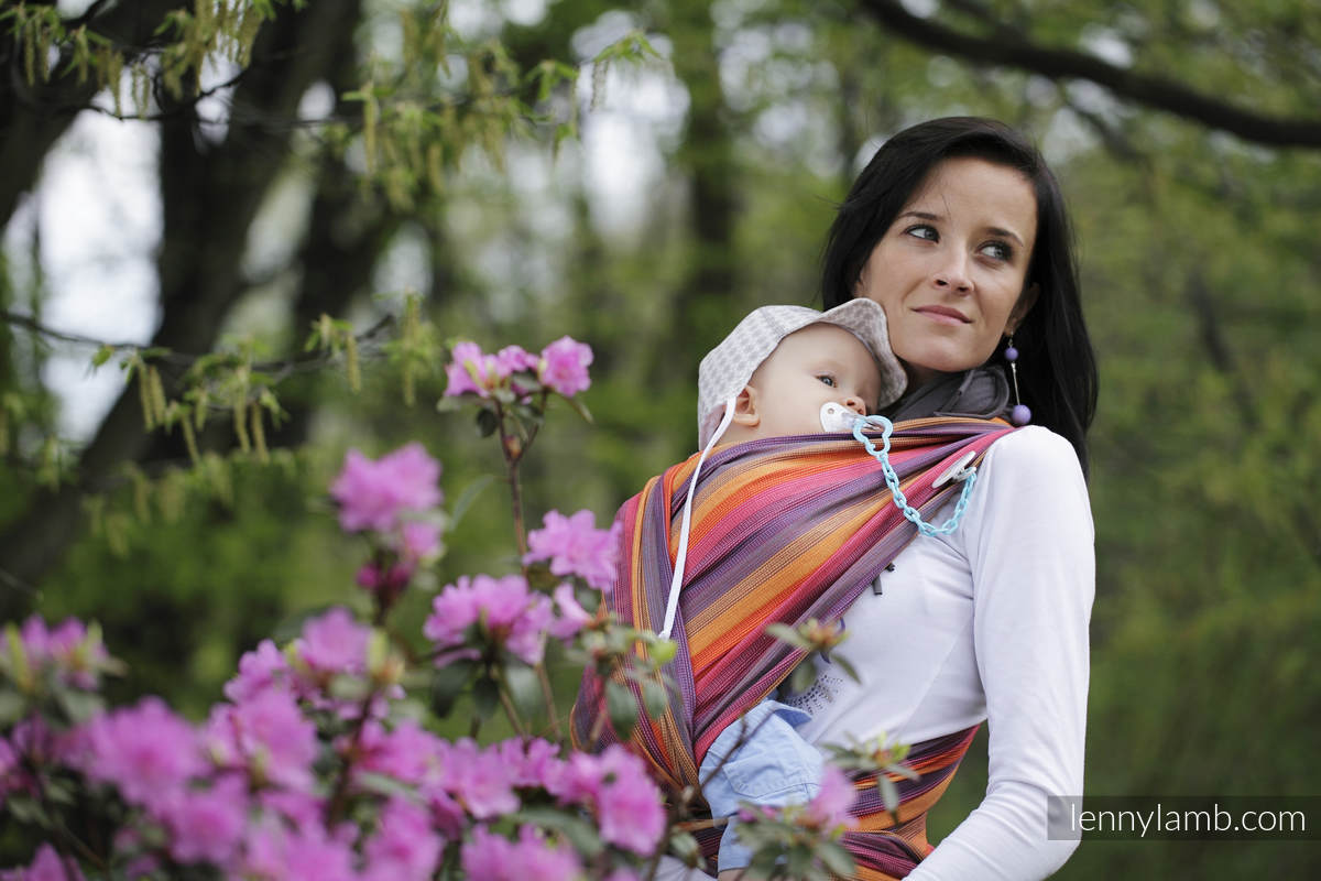 Baby Sling, Broken Twill Weave (100% cotton) - SUNSET RAINBOW COTTON - size XS #babywearing