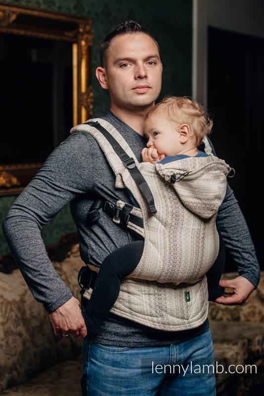 Nosidełko Ergonomiczne z tkaniny żakardowej 100% bawełna , Baby Size, LITTLE LOVE - TIRAMISU, Druga Generacja #babywearing
