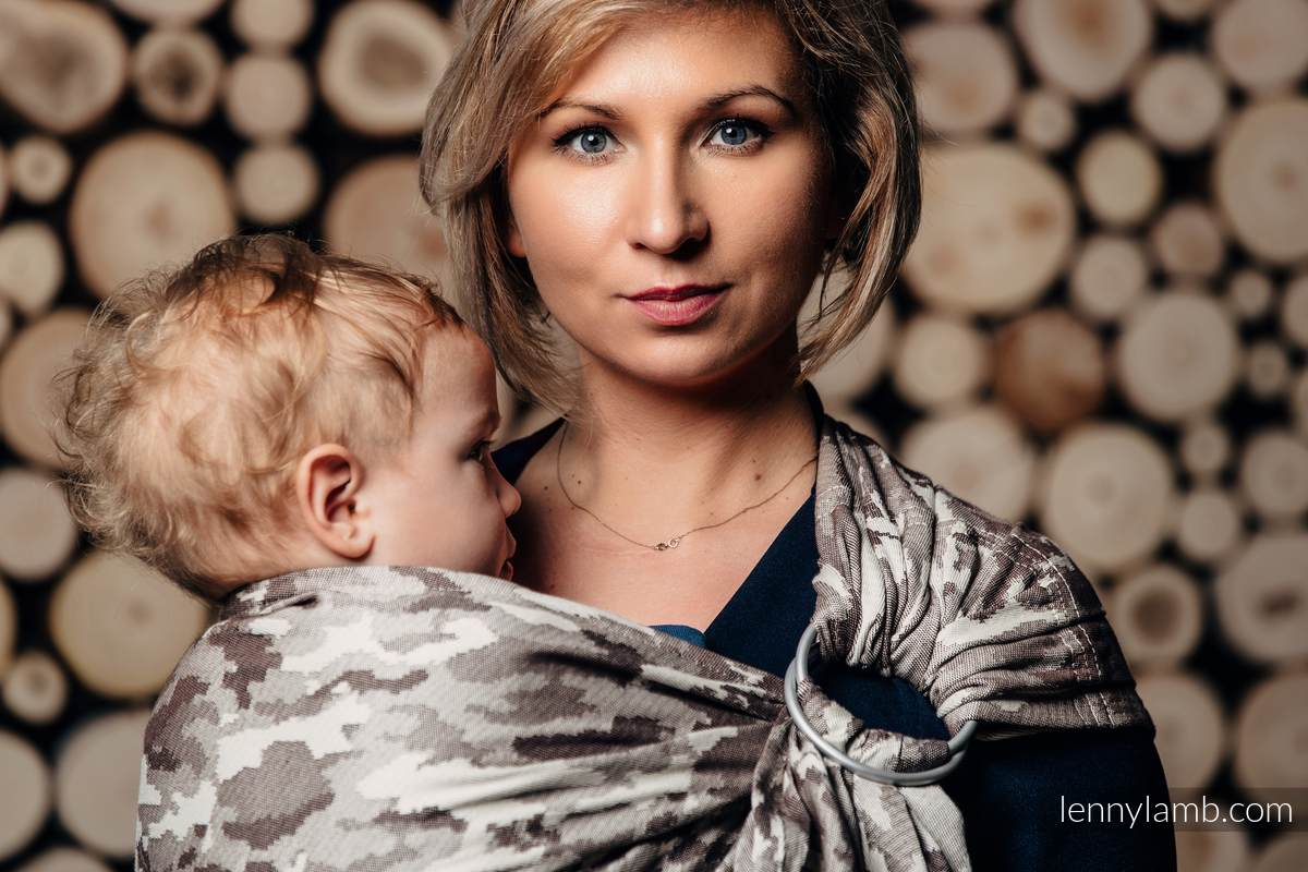 Ringsling, Jacquard Weave (100% cotton) - with gathered shoulder - BEIGE CAMO - long 2.1m #babywearing