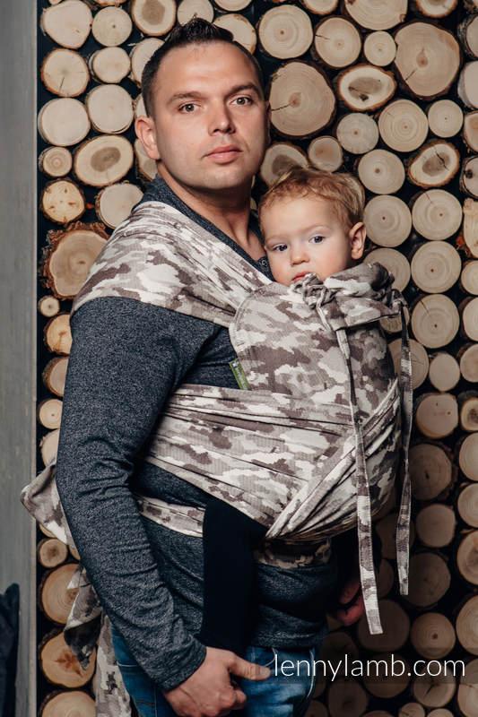 Nosidełko dla dzieci WRAP-TAI MINI, bawełna, splot żakardowy, z kapturkiem, BEŻOWE MORO #babywearing