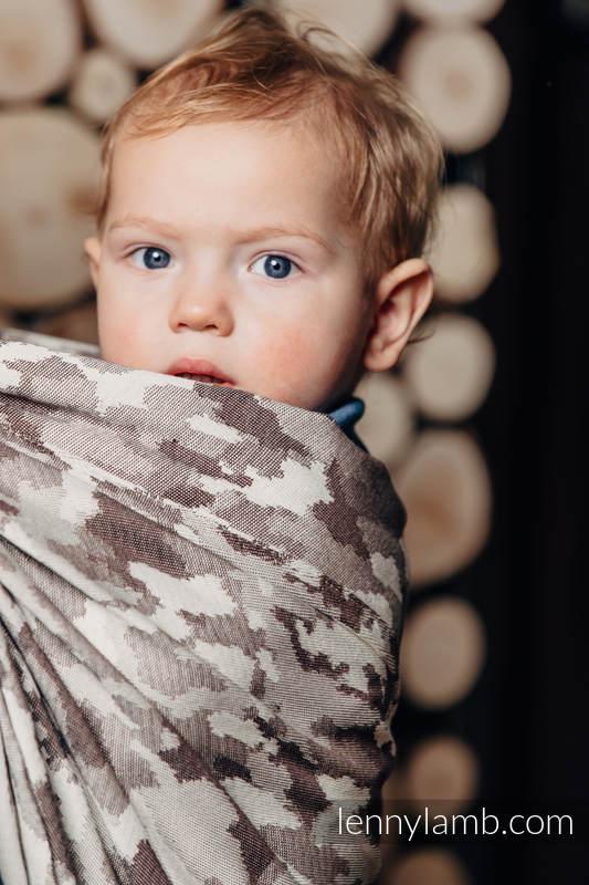 Żakardowa chusta do noszenia dzieci, bawełna - BEŻOWE MORO - rozmiar XS #babywearing