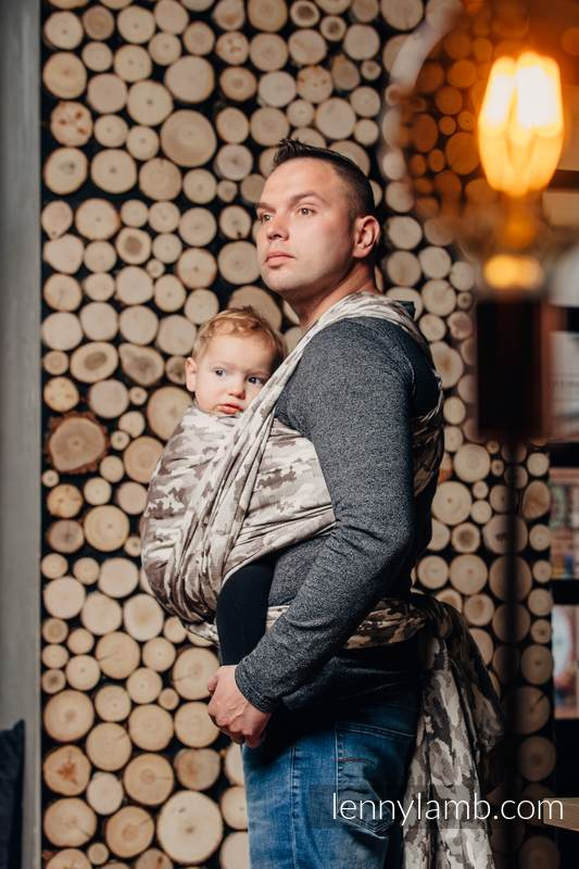 Baby Wrap, Jacquard Weave (100% cotton) - BEIGE CAMO - size M #babywearing