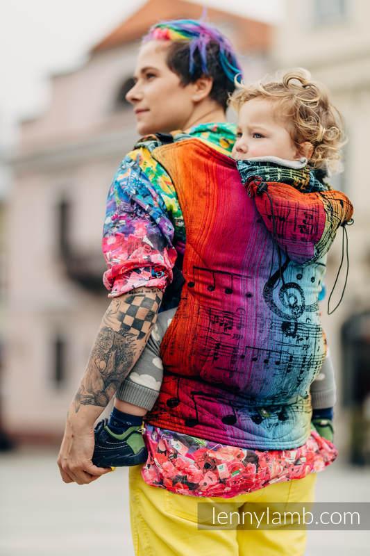 Ergonomic Carrier, Toddler Size, jacquard weave 100% cotton - SYMPHONY RAINBOW DARK - Second Generation #babywearing