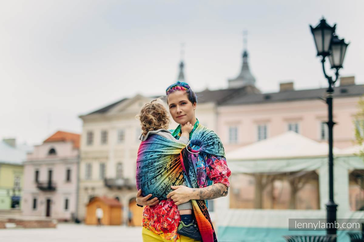 Ringsling, Jacquard Weave (100% cotton), with gathered shoulder - SYMPHONY RAINBOW DARK  - standard 1.8m #babywearing