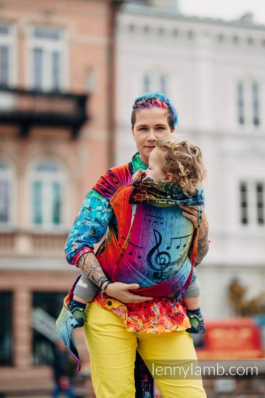 WRAP-TAI carrier Mini with hood/ jacquard twill / 100% cotton / SYMPHONY RAINBOW DARK #babywearing