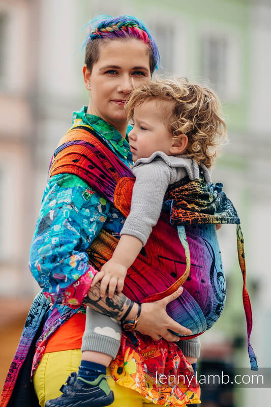 WRAP-TAI carrier Toddler with hood/ jacquard twill / 100% cotton / SYMPHONY RAINBOW DARK #babywearing